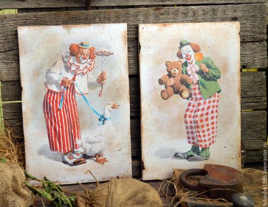 """Юмор ручной работы. Ярмарка Мастеров - ручная работа. Купить Набор настенных панно """" Весёлые клоуны"""". Handmade. Рыжий"""