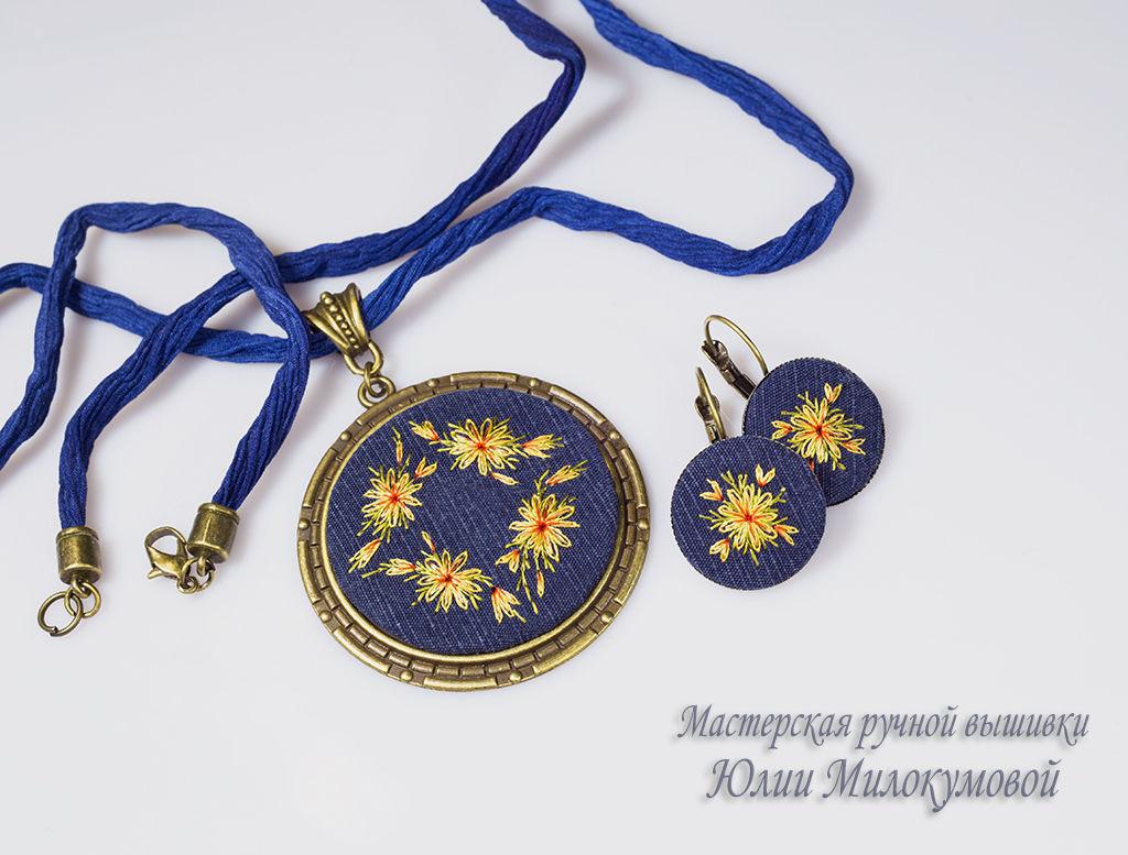 Embroidered complete La noche de los girasoles (2), Jewelry Sets, Moscow,  Фото №1