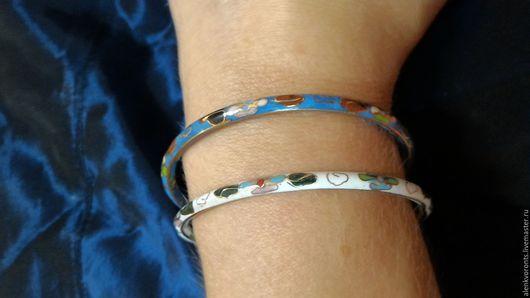 Винтажные украшения. Ярмарка Мастеров - ручная работа. Купить Браслет винтаж винтажный эмали эмаль кольцо серебро 925. Handmade.