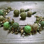 Украшения handmade. Livemaster - original item bracelet necklace and earring forest kingdom-2 green. Handmade.