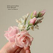 Украшения ручной работы. Ярмарка Мастеров - ручная работа Брошь с розами и белой сиренью. Handmade.