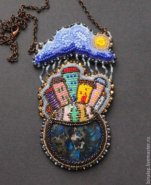 """Кулоны, подвески ручной работы. Ярмарка Мастеров - ручная работа. Купить Кулон """"Грибной дождь в городе"""". Handmade. Разноцветный"""