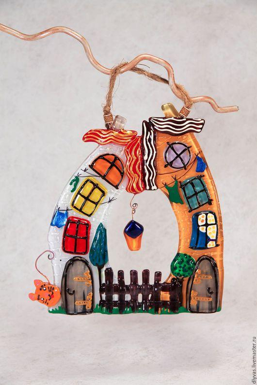 """Город ручной работы. Ярмарка Мастеров - ручная работа. Купить """" Дворики"""", стекло, фьюзинг, витражная роспись. Handmade."""