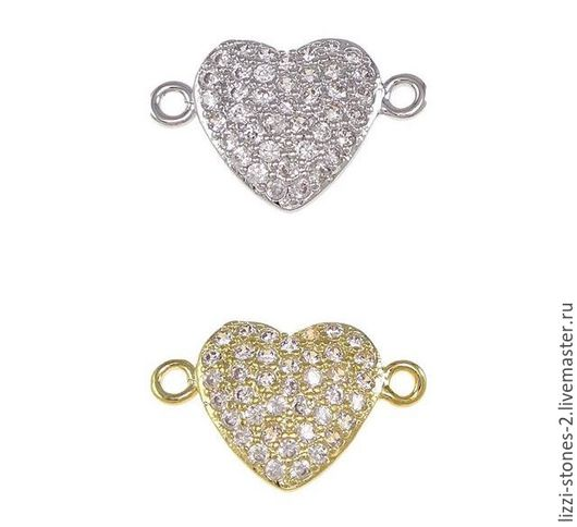 Коннектор Сердце mini серебро и золото (Milano) Евгения (Lizzi-stones-2)