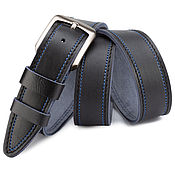 handmade. Livemaster - original item Percival leather belt (dark blue). Handmade.