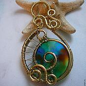 Украшения handmade. Livemaster - original item Pendant brass with stained glass inserts