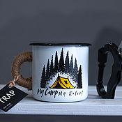 """Винтажные кружки ручной работы. Ярмарка Мастеров - ручная работа Эмалированная кружка TRAP """"My camp"""". Handmade."""