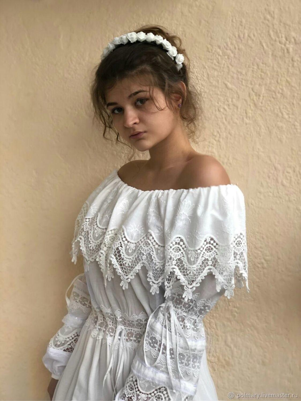 2fd34c2ecae Заказать Платье из хлопкового шитья в стиле бохо молочного цвета