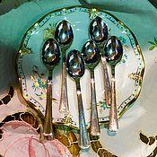 Винтаж handmade. Livemaster - original item Set of coffee spoons, 6 PCs, Silver, Italy. Handmade.