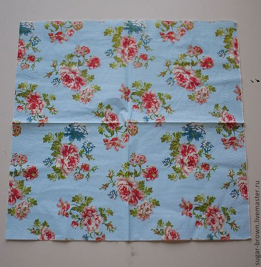 Винтажная серия салфеток с цветами на голубом фоне