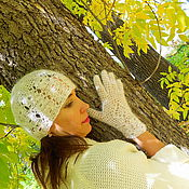 Аксессуары ручной работы. Ярмарка Мастеров - ручная работа комплект Шапочка, перчатки из козьего пуха. Handmade.