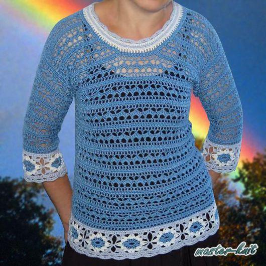 Кофты и свитера ручной работы. Ярмарка Мастеров - ручная работа. Купить Меланжевая кофточка цвета джинс с рукавом 3/4. Handmade.
