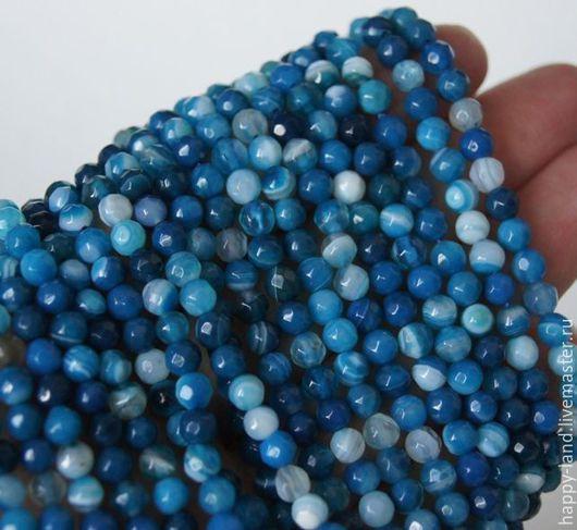 Для украшений ручной работы. Ярмарка Мастеров - ручная работа. Купить Агат тонированный синий 4 мм. Handmade. Разноцветный