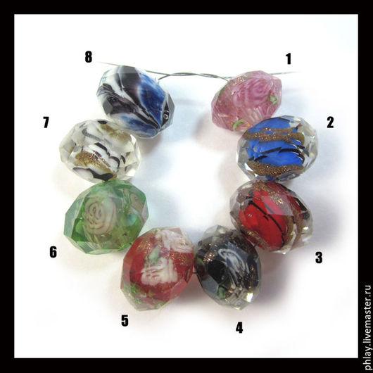 Для украшений ручной работы. Ярмарка Мастеров - ручная работа. Купить Муранское стекло, рондель, 2 цвета (12х10мм). Handmade.
