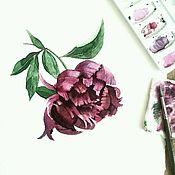 Картины и панно ручной работы. Ярмарка Мастеров - ручная работа Акварель Пион. Handmade.