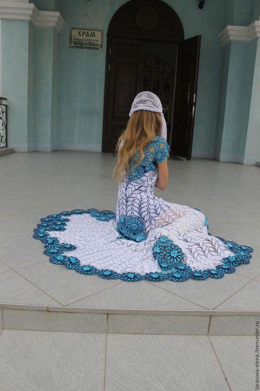 Платья ручной работы. Ярмарка Мастеров - ручная работа. Купить платье вязаное из цветов и веточек.. Handmade. Платье, платье в пол