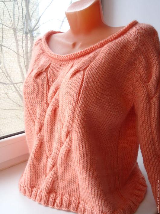 Кофты и свитера ручной работы. Ярмарка Мастеров - ручная работа. Купить Джемпер с косами 44-48 размер, объемный. Handmade.