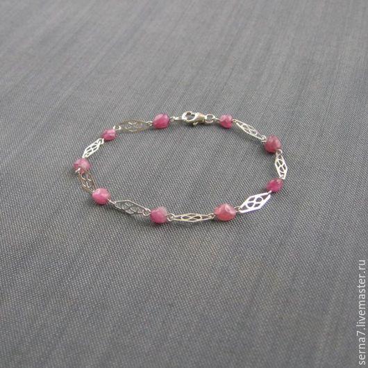 """Браслеты ручной работы. Ярмарка Мастеров - ручная работа. Купить Браслет """"Pretty rose"""". Handmade. Розовый, браслет серебро камни"""