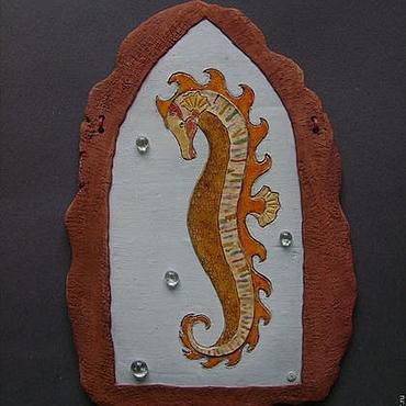 Картины и панно ручной работы. Ярмарка Мастеров - ручная работа Панно Морской конёк 1 Керамика. Handmade.