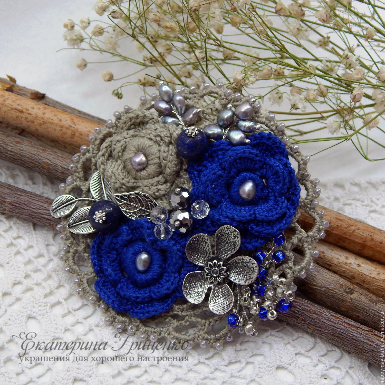 Knitted brooch. Brooch bouquet. Brooch boho. Cornflower brooch ...