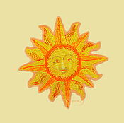 Материалы для творчества handmade. Livemaster - original item embroidery applique patch Ancient sun Yarilo amulet. Handmade.
