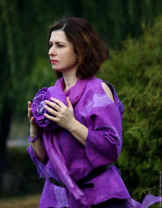 """Блузки ручной работы. Ярмарка Мастеров - ручная работа. Купить Блуза """"Purple crystal"""".. Handmade. Фиолетовый, валяная блузка"""