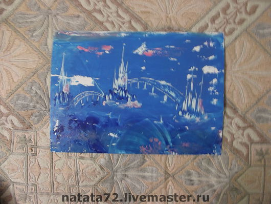 Fairy Tale Illustrations handmade. Livemaster - handmade. Buy 'Sea castles'.Encaustic, gift, wax, paintings and panels