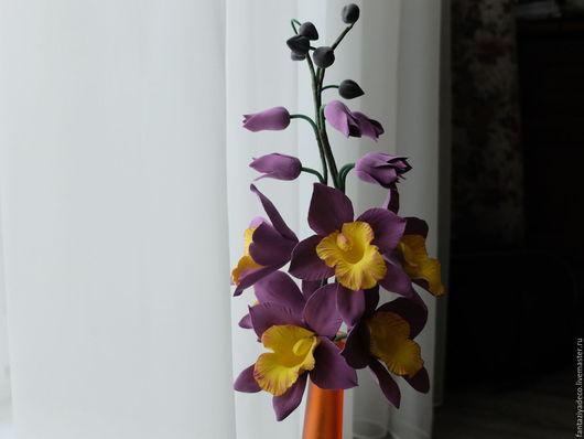 Цветы ручной работы. Ярмарка Мастеров - ручная работа. Купить Веточки орхидеи ручной работы из полимерной глины. Handmade. Разноцветный