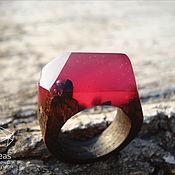 Украшения handmade. Livemaster - original item Ruby ring of epoxy resin and wood. Handmade.