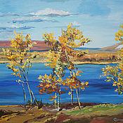Картины и панно handmade. Livemaster - original item Oil painting . Autumn on the Volga.. Handmade.