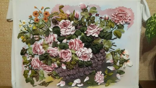 Картины цветов ручной работы. Ярмарка Мастеров - ручная работа. Купить Розы в корзине. Handmade. Лента