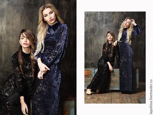 Платья ручной работы. Ярмарка Мастеров - ручная работа. Купить Платье Белучи (в синем цвете) скидка 40% 19200. Handmade.