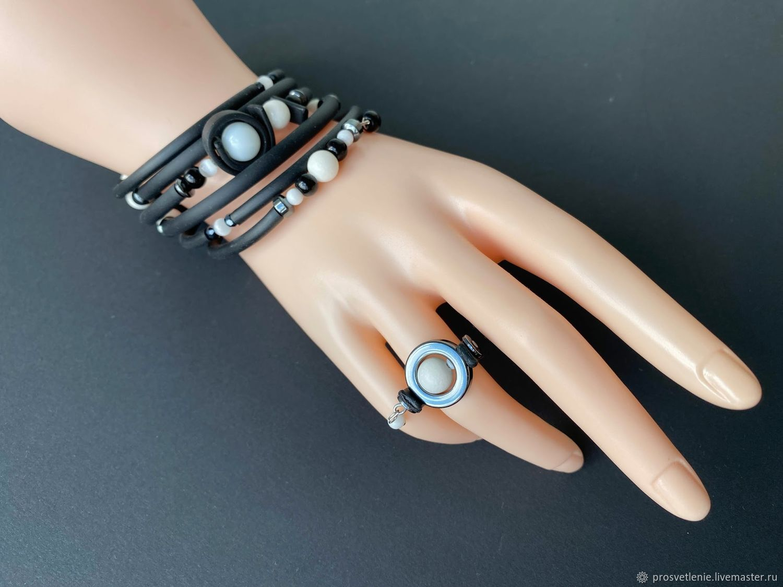 Multi row bracelet made of natural stones with rubber stylish bracelet, Cuff bracelet, Voronezh,  Фото №1