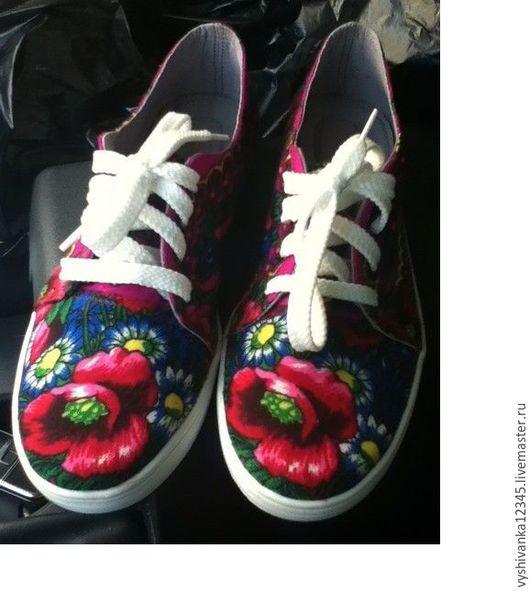 Обувь ручной работы. Ярмарка Мастеров - ручная работа. Купить кеды женские в русском стиле. Handmade. Комбинированный, балетки