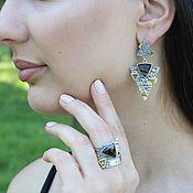 Украшения handmade. Livemaster - original item Triang jewelry set with agates made of silver GA0052. Handmade.
