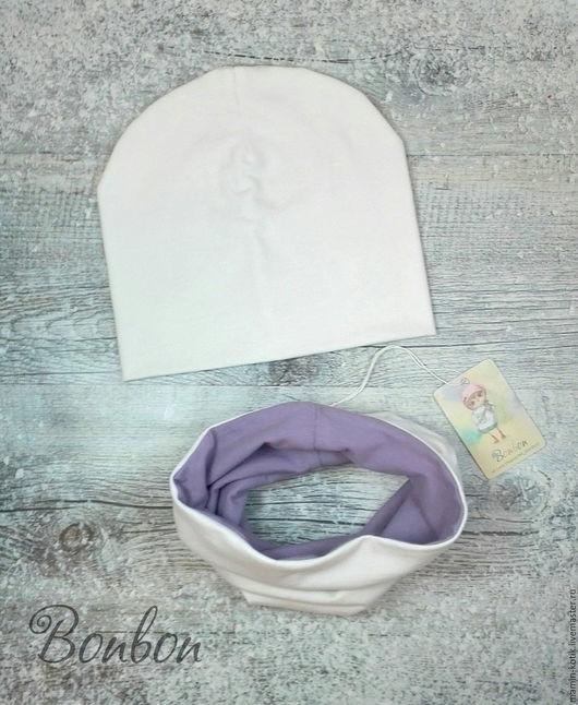 Шапки и шарфы ручной работы. Ярмарка Мастеров - ручная работа. Купить Шапка и снуд из трикотажа детские. Handmade. Шапочка, шарф