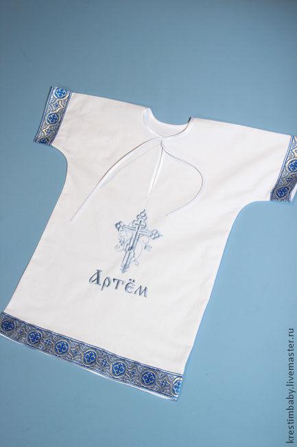 Крестильные принадлежности ручной работы. Ярмарка Мастеров - ручная работа. Купить Крестильная именная рубашечка. Handmade. Белый, крестильная рубашка