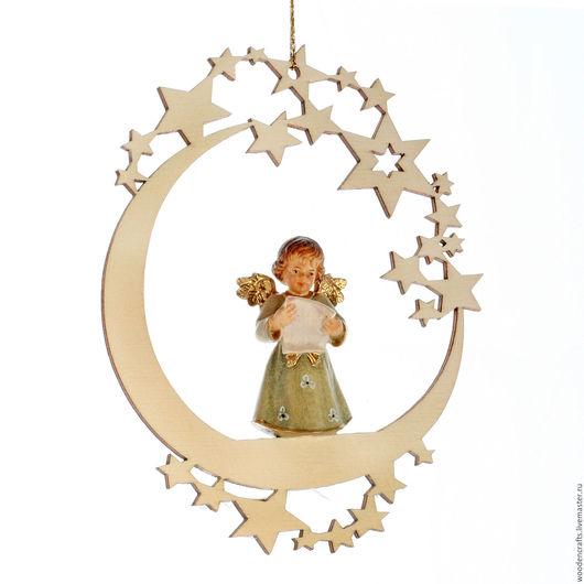 """Новый год 2017 ручной работы. Ярмарка Мастеров - ручная работа. Купить Елочная игрушка """"Луна с ангелом"""". Handmade. Елочная игрушка"""