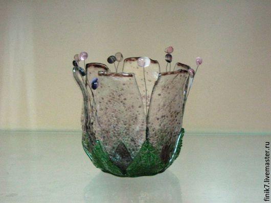 Вазы ручной работы. Ярмарка Мастеров - ручная работа. Купить Фьюзинг. Кашпо для орхидеи.. Handmade. Розовый, Фьюзинг, кашпо, цветы
