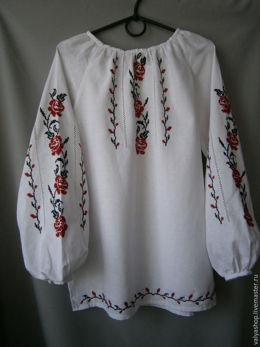 Блузки ручной работы. Ярмарка Мастеров - ручная работа. Купить Блуза-вышиванка из домотканого полотна Розы 42-44. Handmade.