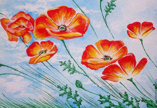 Картины цветов ручной работы. картина