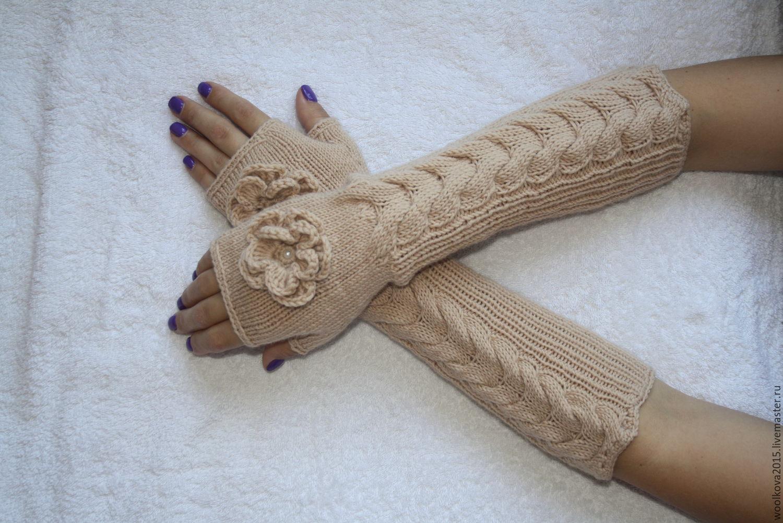 Длинные перчатки без пальцев связать