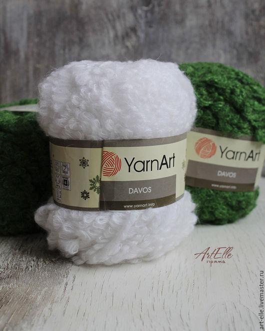 Вязание ручной работы. Ярмарка Мастеров - ручная работа. Купить Шерстяная буклированная пряжа YarnArt Davos кид-мохер, бирюзовый, белы. Handmade.