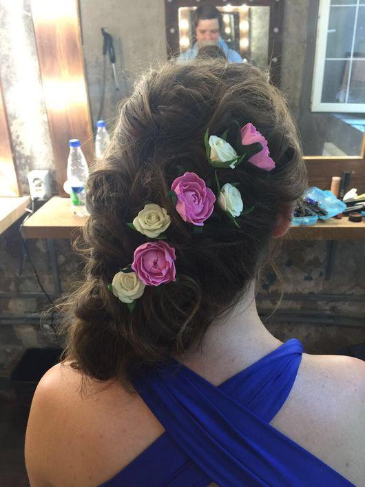 Свадебные украшения ручной работы. Ярмарка Мастеров - ручная работа. Купить Цветы из фоамирана для свадебной прически.. Handmade. Фоамиран, гребешок