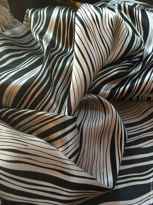 """Шитье ручной работы. Ярмарка Мастеров - ручная работа. Купить Атласная ткань """" Модный полосатый"""". Handmade. Чёрно-белый"""