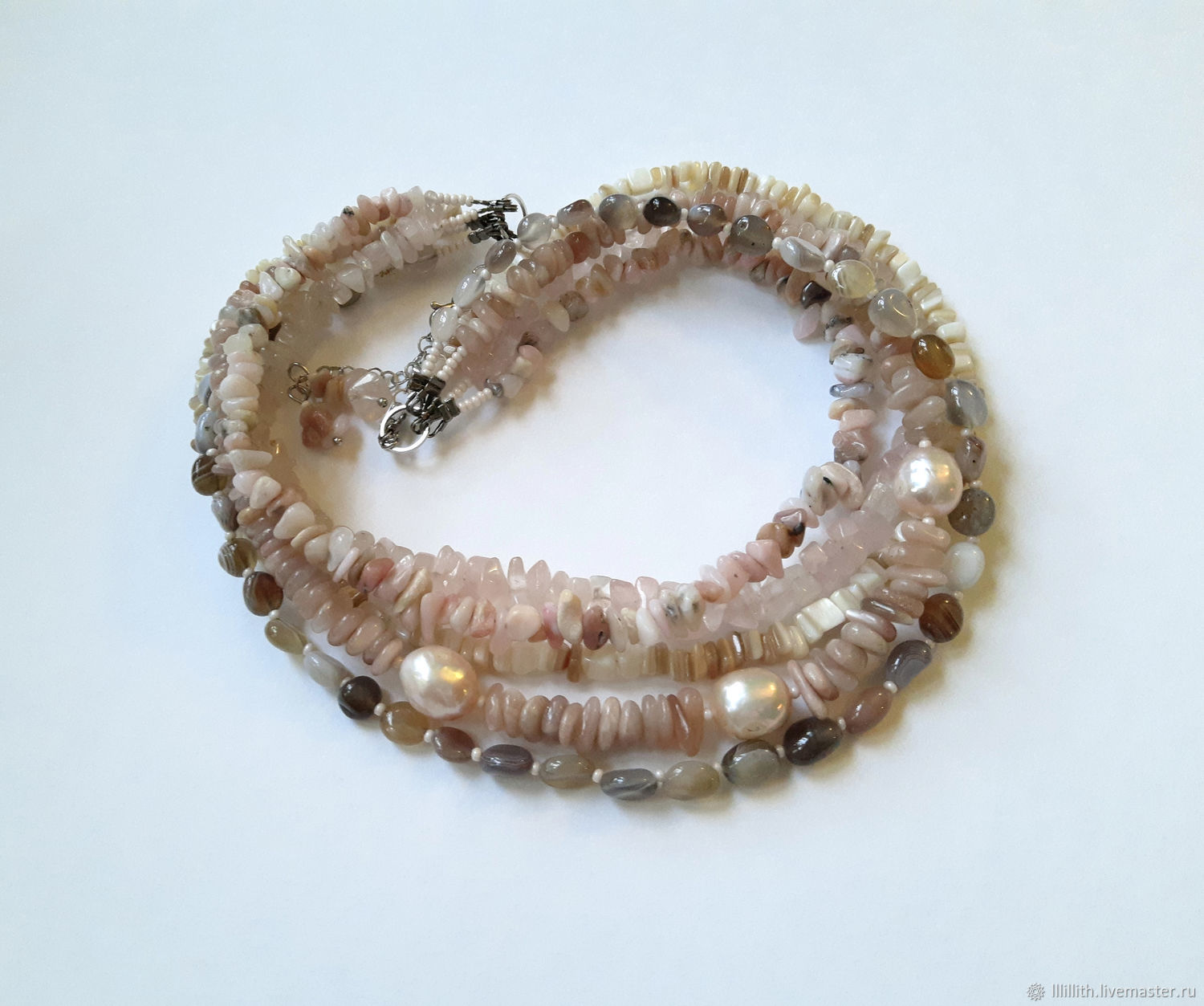 Necklace with pearls, rose opal and quartz, Necklace, Moscow,  Фото №1