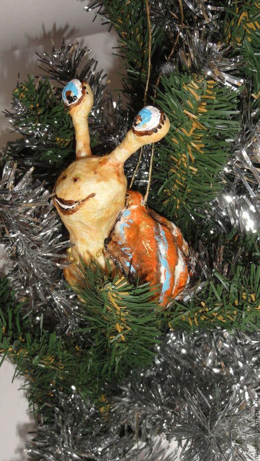 Новый год 2017 ручной работы. Ярмарка Мастеров - ручная работа. Купить Ватная игрушка Веселая улитка для елки. Handmade. Комбинированный