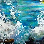 Картины и панно ручной работы. Ярмарка Мастеров - ручная работа Шум прибоя, витражная живопись по стеклу. Handmade.