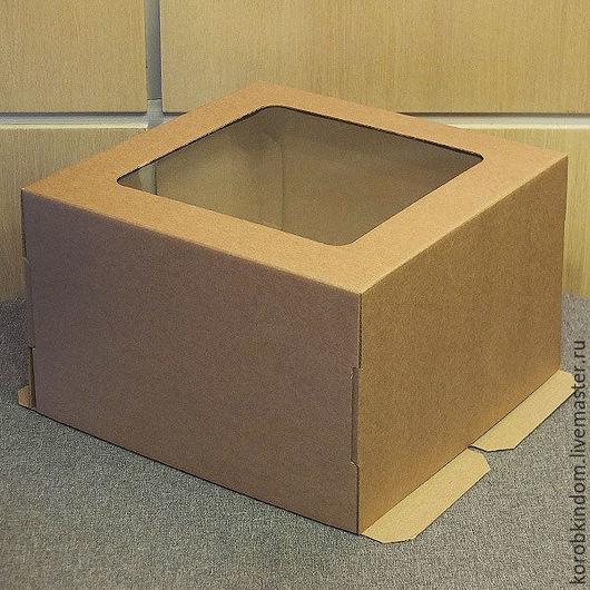 Упаковка ручной работы. Ярмарка Мастеров - ручная работа. Купить Коробка 30х30х19 для торта с окном микрогофрокартон коричневый. Handmade. Коробочка