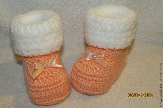 Для новорожденных, ручной работы. Ярмарка Мастеров - ручная работа. Купить Теплые пинетки на 0-6 месяцев. Handmade. Оранжевый